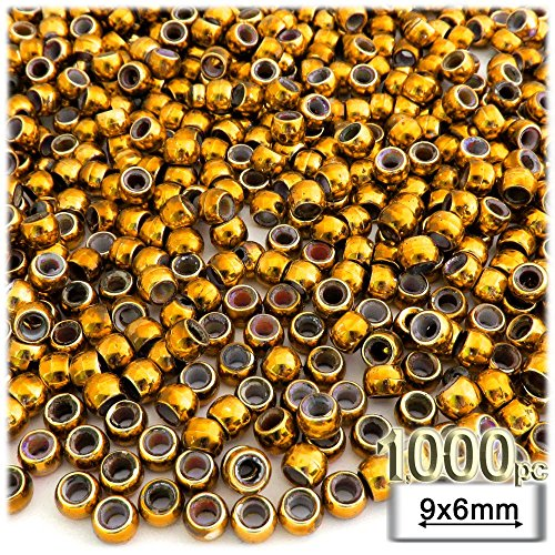 The Crafts Outlet 1000-Piece Plastic Round Opaque Pony Beads, 9 by 6mm, Gold