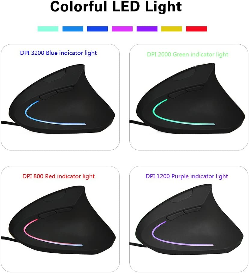 Ergonomic Mouse Vertical Wired Mouse DIGIBLUSKY 2.4G Optical Vertical Mouse 3 Adjustable DPI Levels Colorful Led Computer Mouse Black Wired