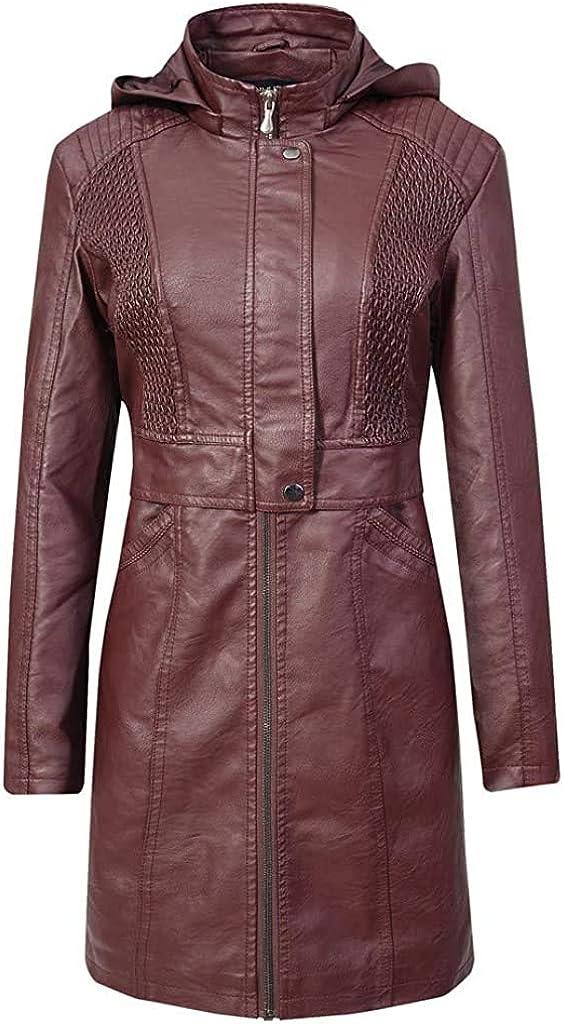 Veste courte à capuche en similicuir pour femme - Style décontracté - Avec capuche - En cuir synthétique - Pour motard Bordeaux