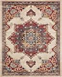 Vintage Inspired Overdyed Distressed Fancy Cream 8′ x 10′ FT (244cm x 305cm) St. James Medallion Area Rug Traditional Persian Design Review