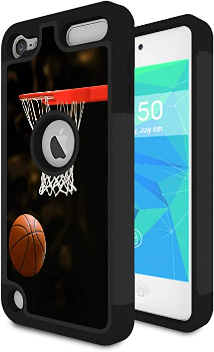 iPod Touch 5th// 6th Gen Hybrid Tuff Case Cover Basket Ball Screen Protector