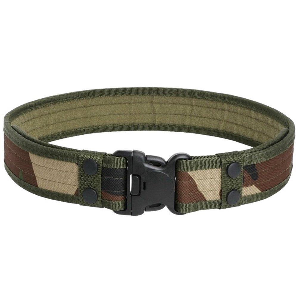 Kingnew Hombres Táctica Cinturón, Ajustable Duty Rescue Lucha Policía Cinturón Cintura con Cierre rápido para Exterior de Caza, Senderismo (Ejército Verde)