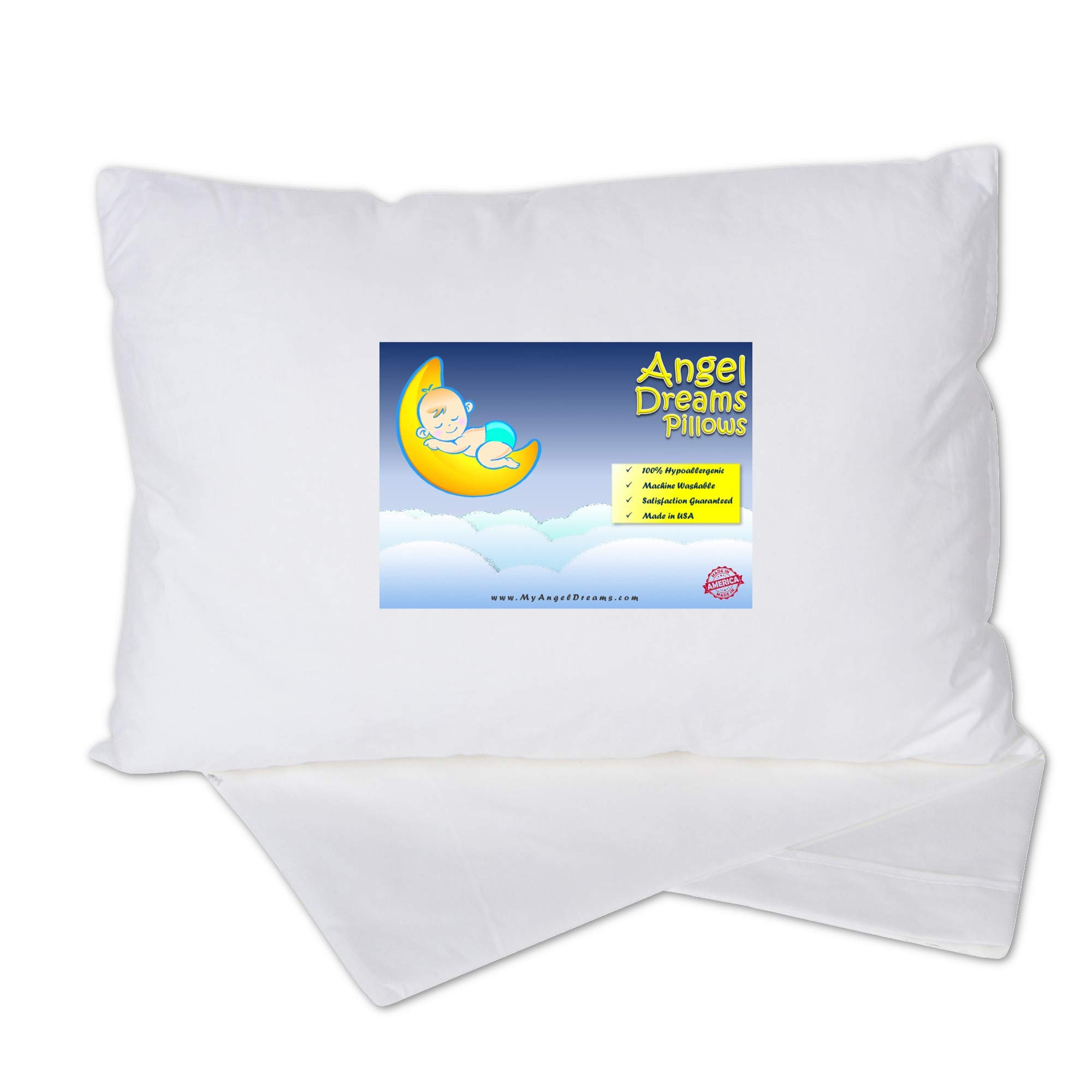 Toddler Pillow 14x19 with Pillowcase - Soft Kids Pillows for Sleeping - Made in USA - Perfect for Travel, Toddler Cot, Bed Set - Hypoallergenic - Toddlers, Infant, Baby by Angel Dreams