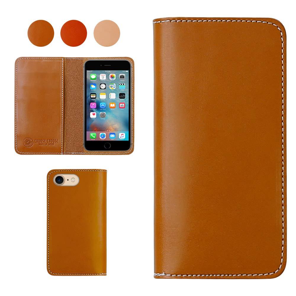 iPhone X、日本栃木エイジングレザースマートフォンケース、シングルカードスロット、ウォレットケース - スモークキャメル   B07GKCP2N4