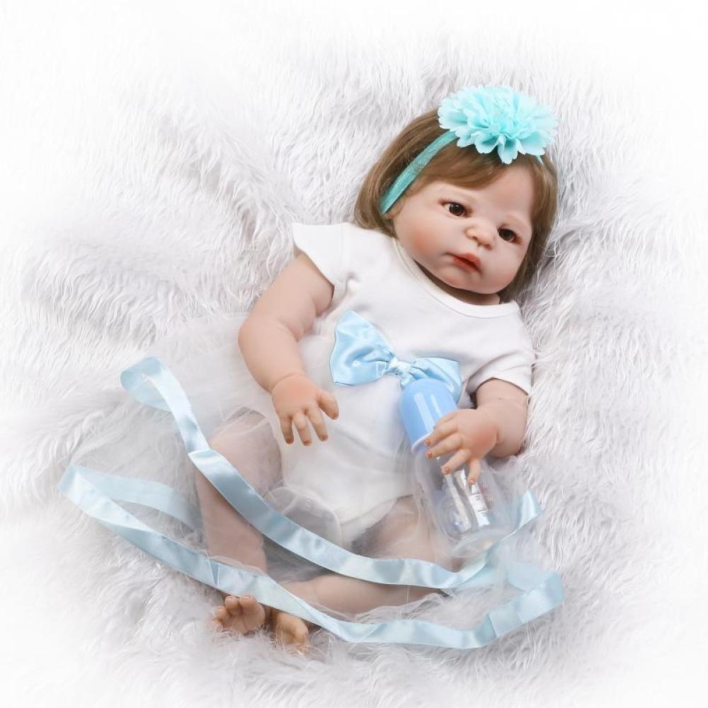GHCX Mädchen-Wiedergeburtssilikonpuppe der Simulation Kann Nettes Das Wasserbegleiterspielzeugkinder Kreatives Geburtstagsgeschenk 57CM Eintragen