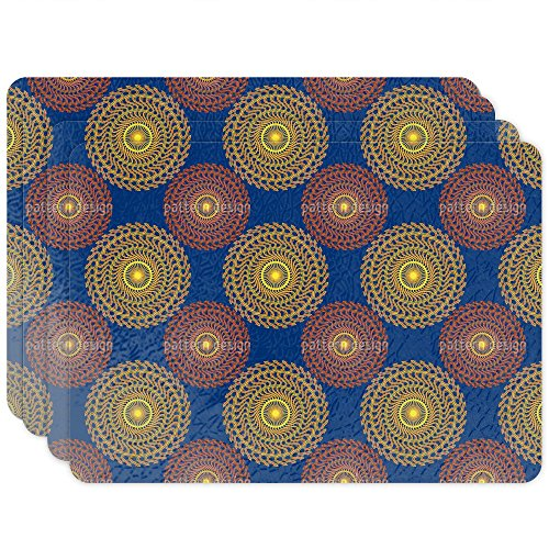 Solar Circles On Blue Placemat Set of 4 Vinyl Easy Clean Heat Insulation Stain-resistant by uneekee
