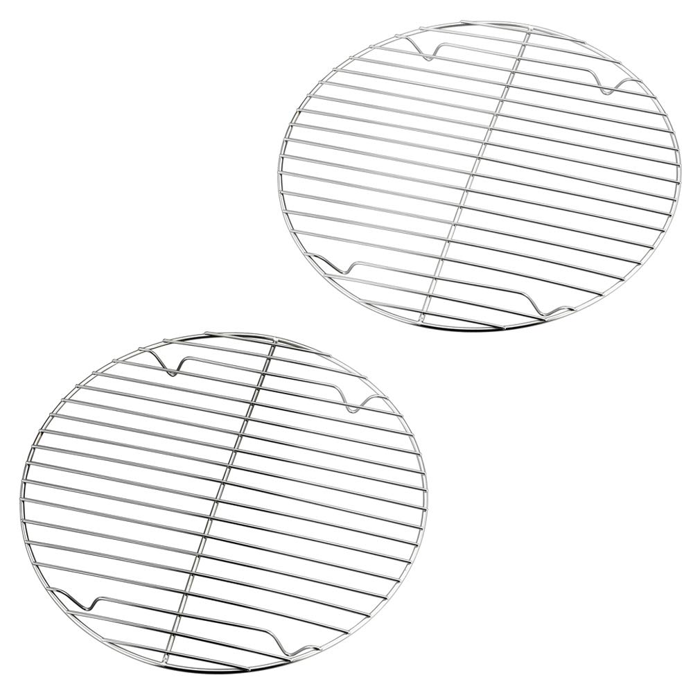 P&P CHEF Cooking Rack Round, 9-Inch Stainless Steel Round Rack for cooking Cooling Steaming Baking, Fit Air Fryer Stockpot Instant Pot Pressure Cooker, 2 PACK -Oven & Dishwasher Safe