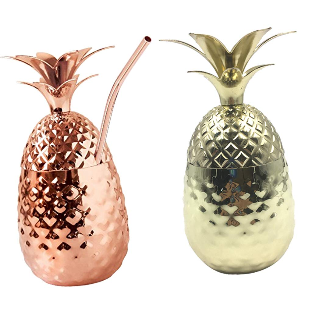 Flameer 2PCS Solid Pineapple Tumbler/Mug with Copper Straw - Handcrafted Drinking Mugs Unique Christmas/Anniversary/Birthday