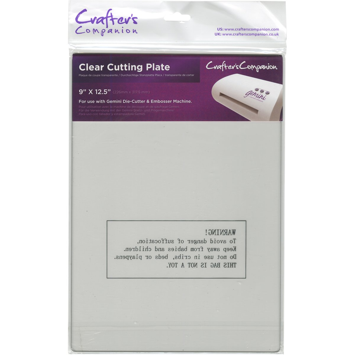 Crafters Companion Gemini Accessories Cutting Plate, Clear Crafter's Companion GEM-ACC-CLEP