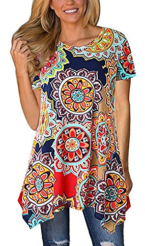 Summer Tops for Women Tunics Tshirt Floral Short Sleeve Casual Irregular Hem Asymmetrical Navy Blue Large