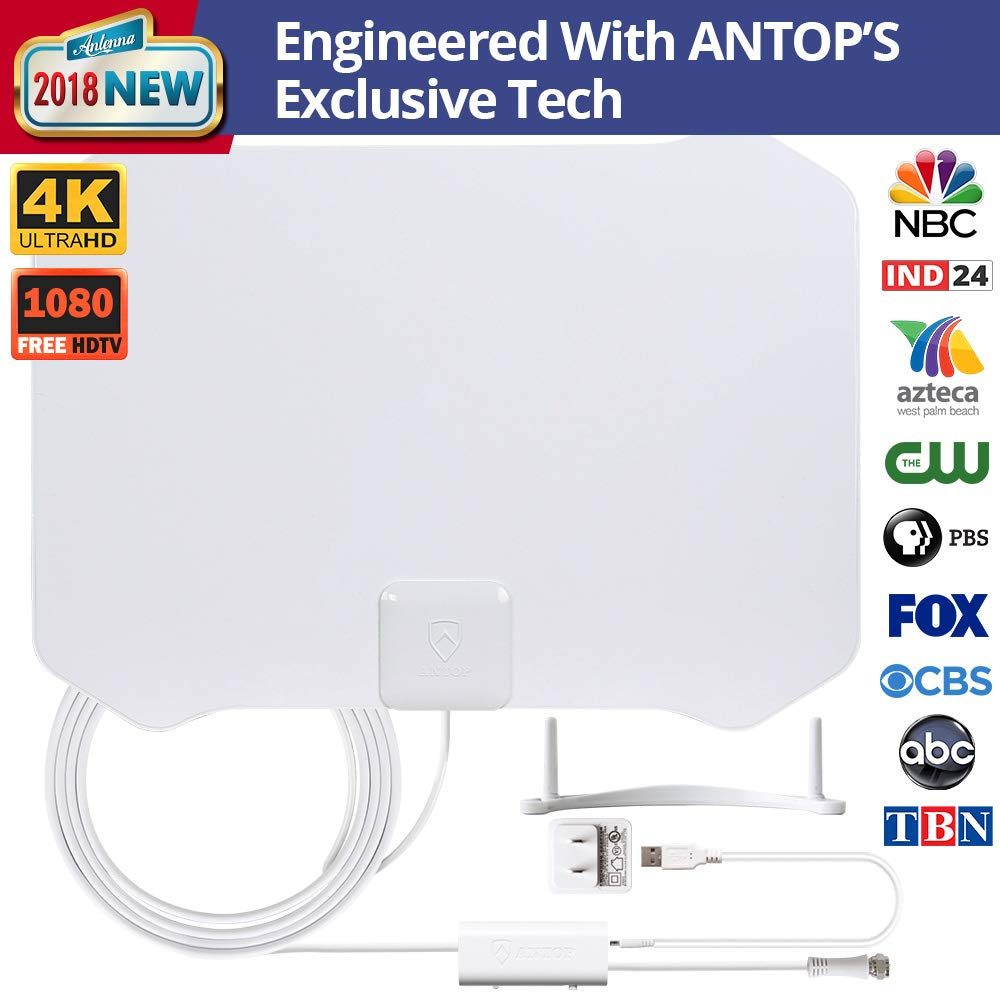 TV Antenna, ANTOP Digital Amplified Indoor HDTV Antenna 50 Mile Range with Amplifier Signal Booster Omni-Directional Reception and 10FT High Performance Coax Cable UL Certificate