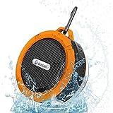 WONFAST® Portable Mini Wireless Bluetooth 3.0 Waterproof Outdoor & Shower Speaker with 5W Speaker/Suction Cup/Mic/Hands-Free Speakerphone (Orange)