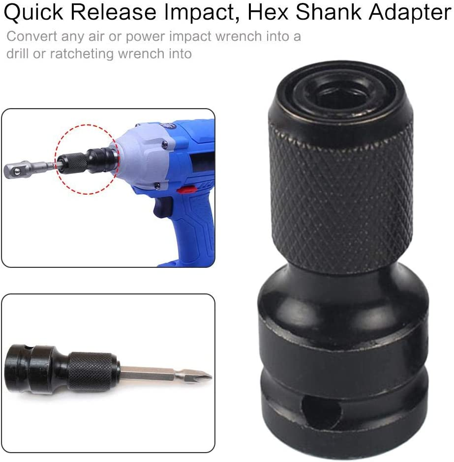 Screwdriver Bit Conversion Tool Adapter 1//2 Inch Square Drive to 1//4 Inch Hex Shank Quick Change Socket Adapter