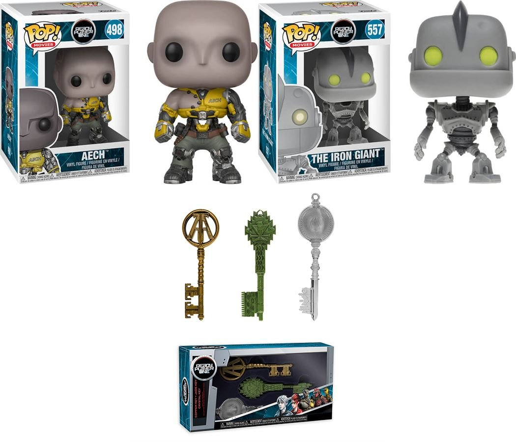 Funko POP! Ready Player One: Aech + The Iron Giant + Copper Key + Jade Key + Crystal Key - Stylized Vinyl Figure Collectibles Bundle Set NEW