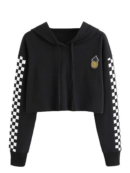 1b41093fd1d Jollymoda Women's Pineapple Embroidered Hoodie Plaid Crop Top Sweatshirt ( Black, XL) at Amazon Women's Clothing store: