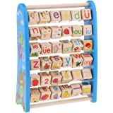 MagiDeal Wooden Activity Center -Wood Activity Toys with Alphabet Blocks and Abacus-Early Learning Baby Toys Suitable for Montessori Education