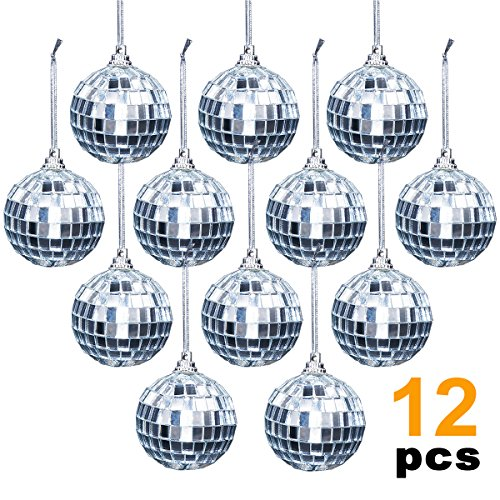 Ivenf 12 Pcs Mirror Ball 2 inch, 70's Disco Party Decoration, Christmas Tree Wedding Birthday Party Ornaments ()