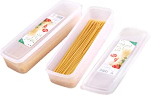 2Pcs Pasta Storage Container Kitchen Spaghetti Food Storage Box - Noodle Canister With Lid for Spaghetti, Noodles, Pasta, Eggs, Fruits Snacks