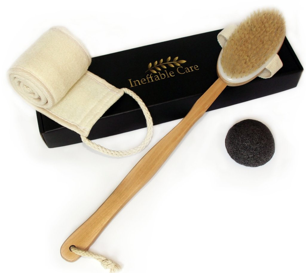 Loofah Back Scrubber & Body Brush for Dry Skin Brushing with Natural Boar Bristles - Back Brush, Bath Brush and Shower Brush Gift set
