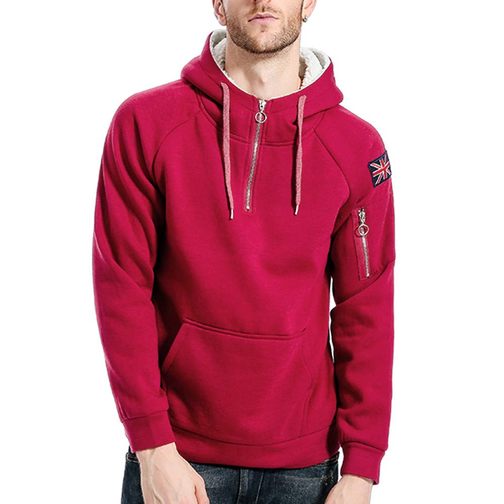 Pervobs Mens Zipper Long Sleeve Pocket Hooded Pullover Hoodies Sweatshirt Overcoat
