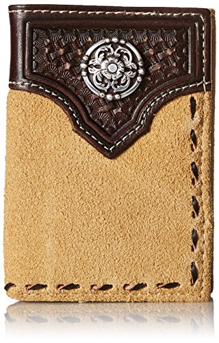 Ariat Men's Rough Out Buck-Stitch Trifold, Tan, One Size