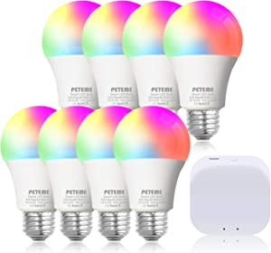 Peteme Smart Light Bulbs Works with Alexa, Echo and Google Home, Smart Life Light Bulb, RGB Color Changing LED Smart Bulbs, SIG Mesh Bulbs for Smart Life App, E26 A19 60W Equivalent (8 Bulbs & 1 Hub)