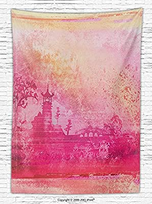 Asian Decor Fleece Throw Blanket Nostalgic Eastern Temple Illustration on Old Paper Retro Inspired Mystic Landscape Art Throw Blanket for es Pink Orange