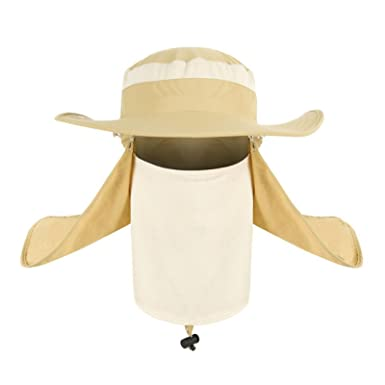 d4c2621495cdb Summer Outdoor 360° UV Solar Sun Protection Fishing Farmer Gardener Visor  Cap Man Women Removable