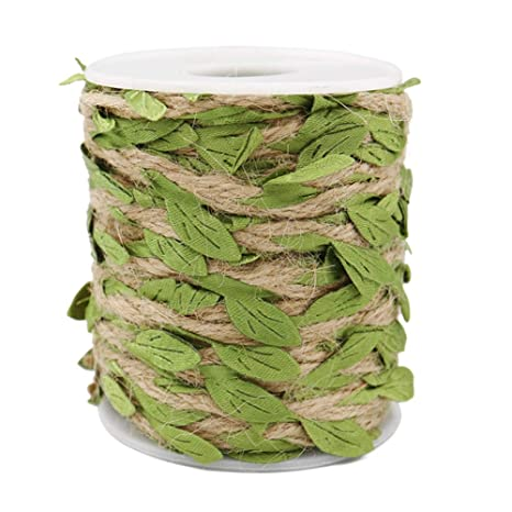 66 Feet Leaf Ribbon with Coil for Wedding Home Tenn Well Jute Twine with Leaf