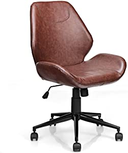 Giantex Home Office Leisure Chair Ergonomic Mid-Back PU Leather Armless Chair Upholstered with 5 Rolling Casters, Height Adjustable Swivel Chair