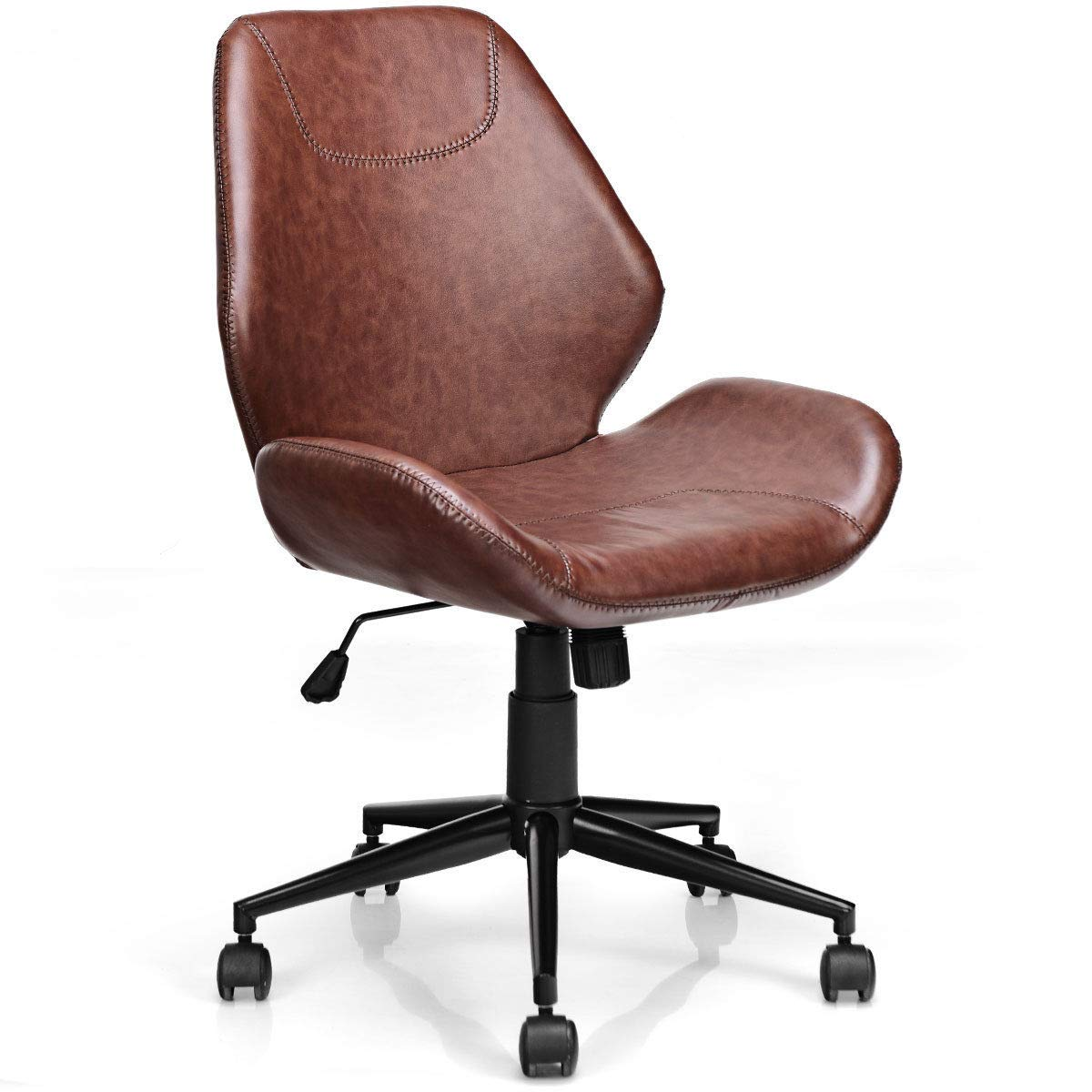 Giantex Home Office Leisure Chair Ergonomic Mid-Back PU Leather Armless Chair Upholstered with 5 Rolling Casters, Height Adjustable Swivel Chair by Giantex
