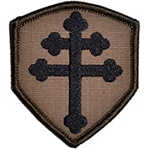 Cross of Lorraine Crusader's Cross 2x3.5 Shield Morale Patch (Coyote Brown with Black)