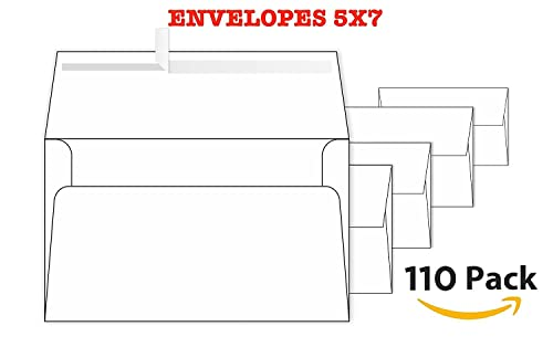 White Invitation 5 X 7 Envelopes 110 Pack For 5X7 Cards A7 5 X 7 Inches Perfect For Weddings Graduation Any Cards 120 Gsm 32Lb 80Lb Text Peel Press And Self Seal Square Flap