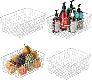Wire Storage Basket, Packism Metal Household Storage Organizer Bin with 2 Handles for Pantry, Shelf, Freezer, Kitchen Cabinet, Bathroom, 4 Pack, Medium, White