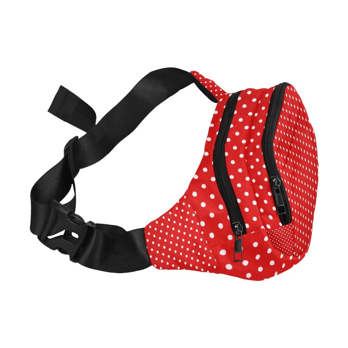 Girlish Red And White Polka Dots Fenny Packs Waist Bags Adjustable Belt Waterproof Nylon Travel Running Sport Vacation Party For Men Women Boys Girls Kids