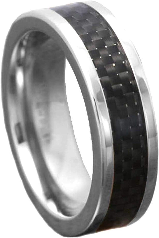 7mm Men's Titanium Ring Wedding Band High Polish Top Black Carbon Fiber Size 8-14 SPJ