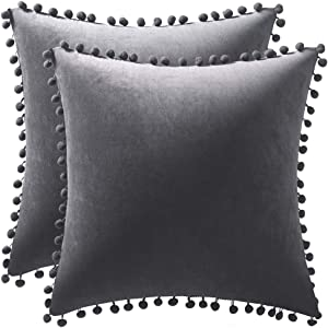DEZENE Throw Pillow Covers 18x18 Dark-Grey: 2 Pack Cozy Soft Pom-poms Velvet Square Decorative Pillow Cases for Farmhouse Home Decor