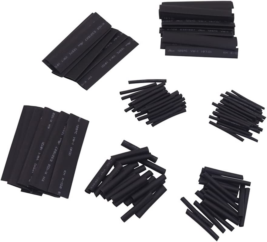 Owikar - Tubo termorretráctil 127 piezas aislante eléctrico cable Wrap Kit 2:1 Tubo termorretráctil Combo Surtido Mangas Envoltura Cable Set para el Hogar - Negro