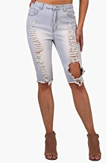 Womens high waisted solid color denim distressed ripped skinny pants lb fashion high waisted jeans ripped distressed skinny denim bermuda shorts jeans for women juniors teen solutioingenieria Gallery
