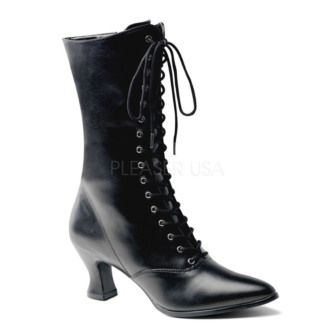 Pleaser 120 (10, Black) VIC-120 Granny Boot W Zipper