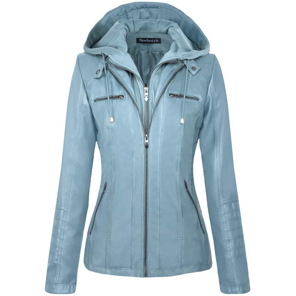 Newbestyle Women Hooded Faux Leather Jacket Hat Detachable Zipper Jacket Women Motorcyle Jacket Sky 2XL