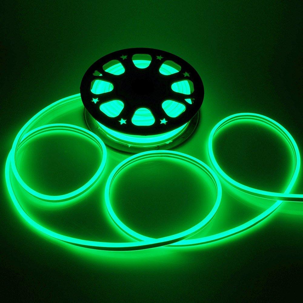 Yescom 50ft Double Sided SMD2835 LED Flexible Neon Stripe Light Green Decoration Lighting