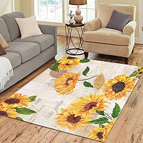 InterestPrint Vintage Sunflower Area Rugs Carpet 7 x 5 Feet, Floar flower yellow Modern Carpet Floor Rugs Mat for Children Kids Home Living Dining Room Playroom (Flower Living Room Rug)