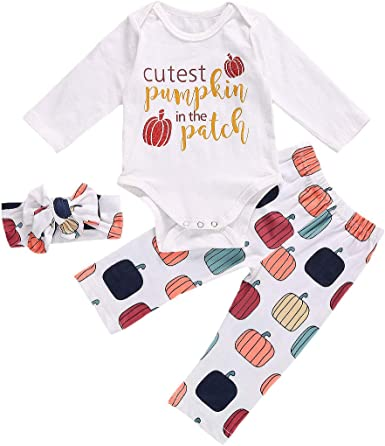 Zaldita Newborn Baby Boys Girls My 1st Halloween 3PCS Romper with Pumpkin Leggings Hat Costume Outfit Set Casual Pajamas