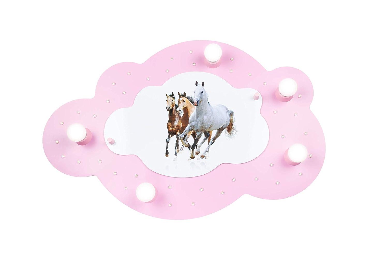 Elobra Kinderlampe Bildwolke Pferde LED Deckenleuchte für Kinder, Holz, 40 W, weiß