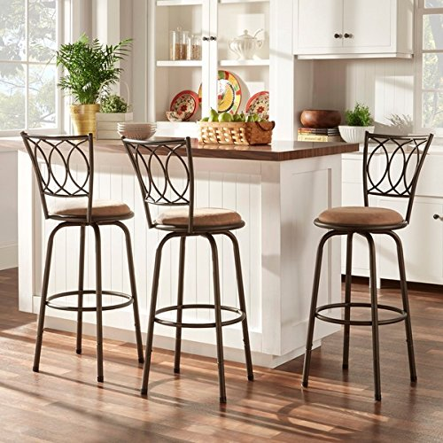 Avalon Scroll Adjustable Swivel High Back Counter Barstool (Set of 3) by iNSPIRE Q (Avalon Bar Set)