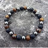 I am protected - Handmade natural semi-precious healing gemstones crystals stretch bracelet made of black onyx, hematite and tiger's eye 8mm beads men women unisex