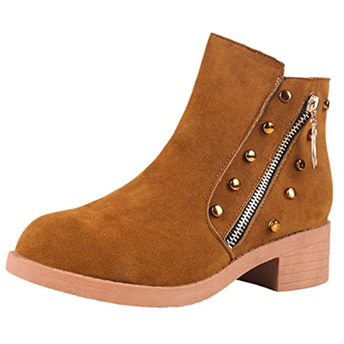 Amazon.com | AgrinTol Women Ankle Short Booties Winter Fashion Womens Mid Heel Round-Toe Shoes Side Zipper Non-Slip Short Tube Boots | Ankle & Bootie