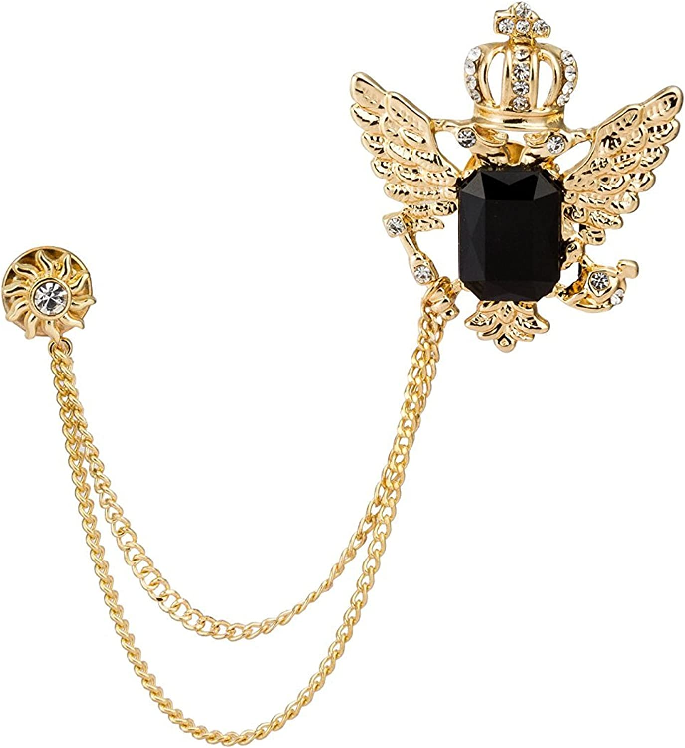 Knighthood Mens Golden Crown Stone with Hanging Chain Brooch Golden