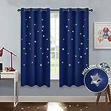 PONY DANCE Cortinas Estrellas Azules Dormitorio Infantil Niño Bebe/Tela Termicas Aislantes Mosquiteras para Habitacion Juvenil Salon Modernas, 2 Uds, 132 x 158 cm (An x Al)
